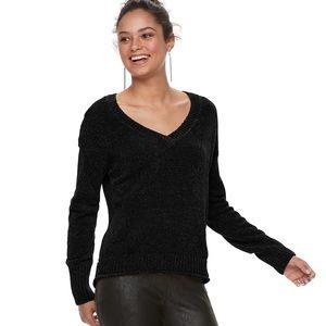 Chenille Black V-Neck Sweater